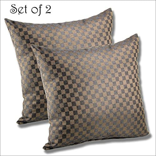 Comfort Classics Inc. Set of 2 Sunbrella Outdoor Indoor Throw Pillow 15.5×15.5 Checkitout Lava