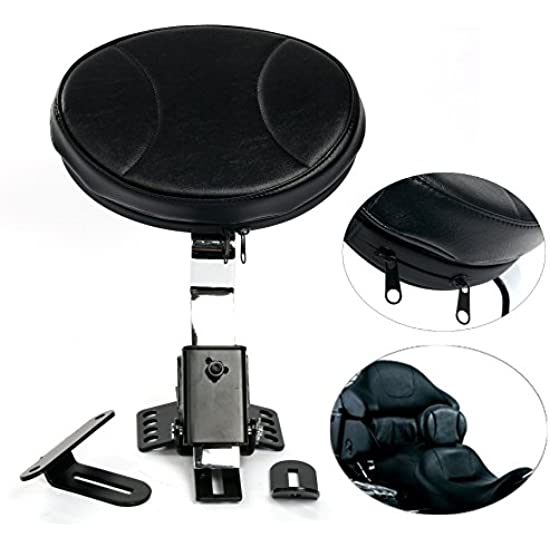 YaeKoo Motorcycle PU Detachable Adjustable Rider Driver Backrest Pad Harley Touring