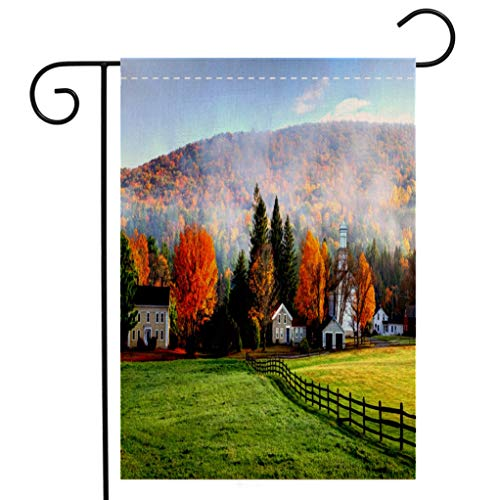 BEIVIVI Creative Home Garden Flag Autumn Mist in The Village of Tyringham in The Berkshires Welcome House Flag for Patio Lawn Outdoor Home Decor