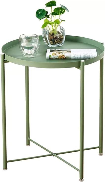 Tavolino da Salotto Rotondo Tavolino in Metallo con Vassoio Rimovibile Antiruggine Facile da Pulire per Soggiorno Camera da Letto Balcone Allaperto Impermeabile Tavolino da Caff/è Verde
