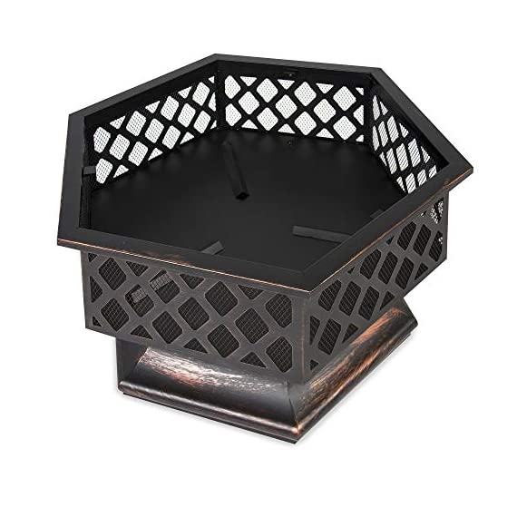 Best Choice Products 24in Hex-Shaped Steel Fire Pit for Garden, Backyard, Poolside w/Flame-Retardant Mesh Lid - RUSTIC DECORATION: Hexagonal steel fire pit sports a distressed bronze finish and combines a tight steel mesh with decorative lattice for a unique addition to your outdoor decor WOOD FIRE PIT: Steel risers at the base of the pit elevate the logs and promote airflow as you build a natural wood fire VERSATILE: A simple, but effective way to bring comfortable warmth to your patio, landing, porch, or poolside. (NOTE: Avoid using this fire pit on or near any wooden structures) - patio, outdoor-decor, fire-pits-outdoor-fireplaces - 51aWb7b9OcL. SS570  -