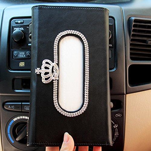 (Mecar Car Visor Tissue Holder,PU Leather Napkin Cover,Paper Towel Box for Vehicle Home Office,Black)
