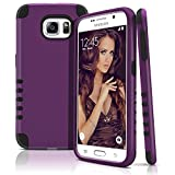 Galaxy S6 Case, Dual Layer Shockproof Case Cover for Samsung Galaxy S6 — Hard Plastic Shell & Soft Rubberized Silicone — Impact Resistant Smartphone Cover Armor Protection [Purple - Black]