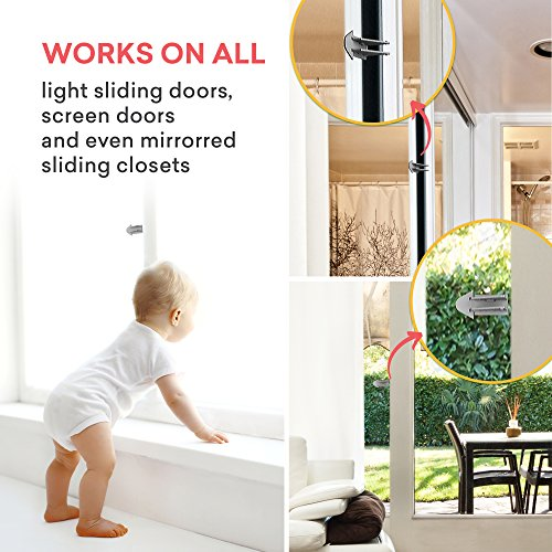 Safetynex Child Safety Sliding Door Lock For Closets Patio Windows
