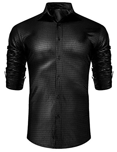 URRU Men's Metallic Shiny Nightclub Elastic Slim Fit Long Sleeve Button Down Sequins Shirt for 70s Disco Party Black M ()