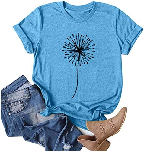 Womens Girls Cute Dragonfly Print Tops Summer Short Sleeve O-Neck Loose Blouse Tunics Eduavar T-Shirt for Women Graphic