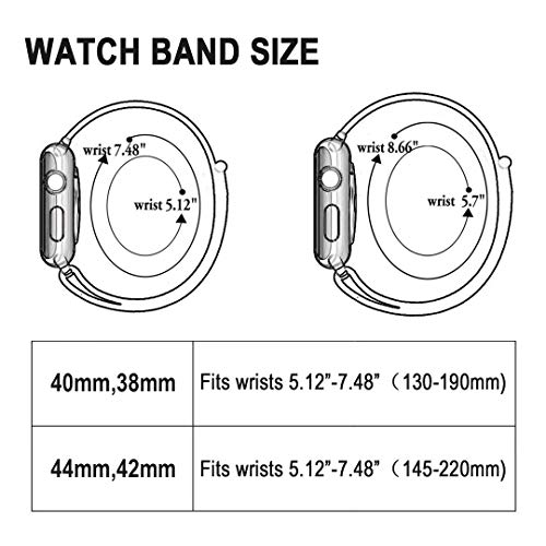 AdMaster Compatible for Apple Watch Band 38mm 40mm, Soft Nylon Sport Loop Replacement Wristband Compatible iWatch Apple Watch Series 4/3/2/1 Pink Sand by AdMaster (Image #5)