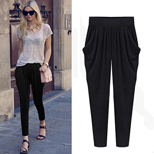 Slinky Halter Long Dress (Hot Sale!Elevin(TM)2017 Women Plus Size Summer Elastic High Waist Loose Harem Pants Casual Wide Leg Pants Trousers (3XL, Black))