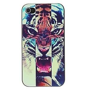 comprar Modelo del tigre feroz PC caso duro con Marco Negro para iPhone 4/4S