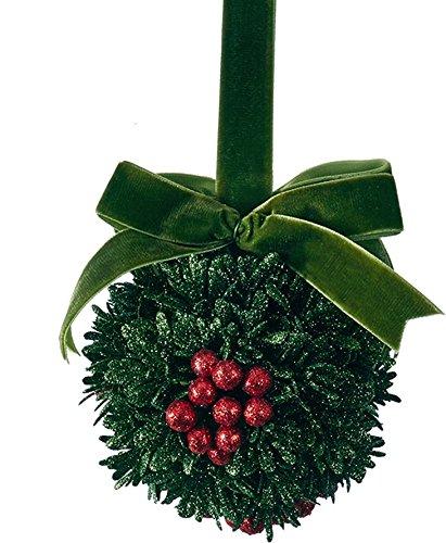 (Christmas Mistletoe Kissing Ball Ornament w Green Ribbon)
