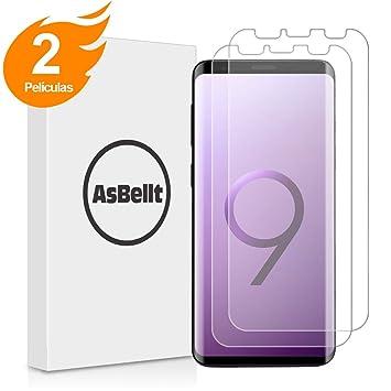 Galaxy S9 Plus Protector de Pantalla, (2 Películas), AsBellt,(Ultra Transparente) (Sin burbujas) TPU Suave, Protector de Pantalla para Samsung Galaxy S9+/S9 ...