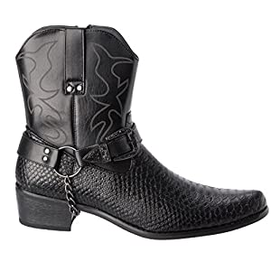 Alberto Fellini Western Style Boots New Upgrade PU-Leather Cowboy Black Dress Shoes Size 11