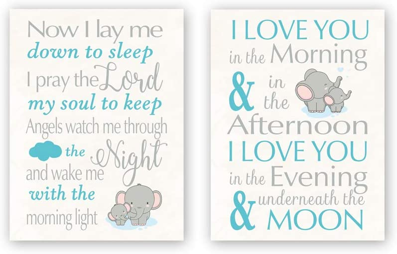 """CHDITB Unframed Elephant Wall Art Print, Inspirational Quotes Canvas Posters,Set of 2(12"""" x16"""" ) Motivational Saying I Love You Painting,Animal Artworks for Kids Teens Nursery Bedroom Playroom Decor"""