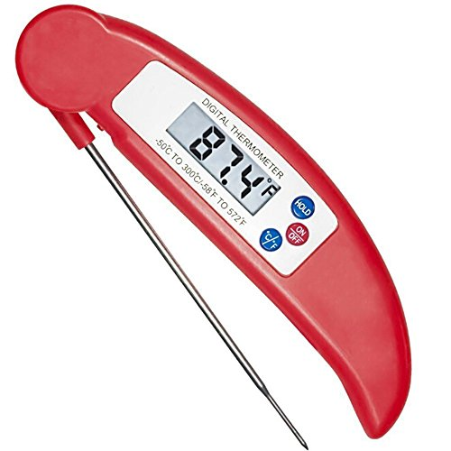 Meat Thermometer,littlejian Electronic Digital Food Thermometer with Instant Read and Probe for Kitchen Cooking, Grill, BBQ, Milk, Candy and Bath Water(Red)