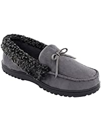 HomeIdeas Men's Faux Fur Lined Suede House Slippers, Winter Indoor / Outdoor Moccasin Shoes