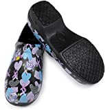 Womans Clog Shoe with Memory Foam in Sole, and Anti Slip Grip Sole Technology, Water and Stain Resistant. (7, Black Happy Owl)