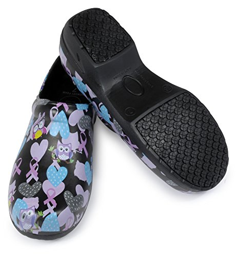 Crush Womans Clog Shoe With Memory Foam In Sole, and Anti Slip Grip Sole Technology, Water and Stain Resistant. (10, Black Happy Owl)