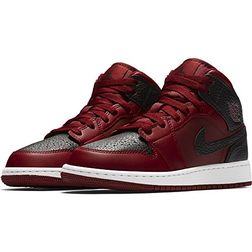 NIKE 554725-601 : Grade School Air Jordan 1 Mid Basketball Shoes Team Red (6.5 M US Big Kid) by NIKE