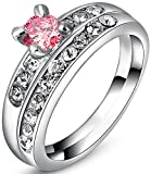 TEMEGO 14k White Gold 2pcs Bridal Sets Wedding Rings,Simulated Pink White Sapphire Halo Ring Set,Size 8