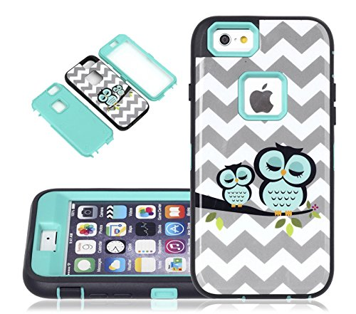 iPhone 6s Case, CexCob Chervon Cute Sleeping Owls [Shockproof 3 in 1 Hybrid] Rugged [Heavy Duty Combo] High Impact Durable Back Case Cover for Apple iPhone 6s / 6, Mint