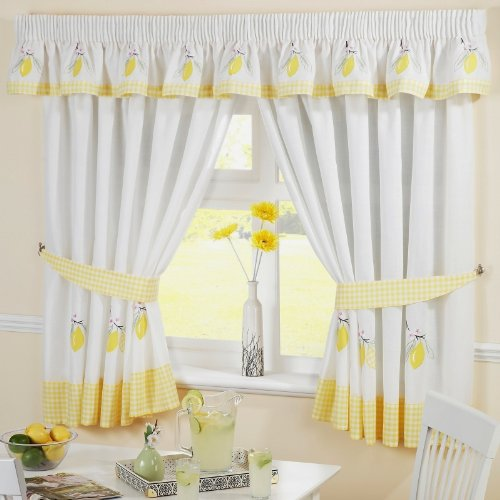 """LEMONS GINGHAM KITCHEN EMBROIDERED CURTAINS YELLOW W46"""" X L54"""" INC TIE BACKS"""