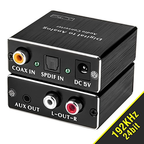 ROOFULL Digital Optical to Analog Audio Converter, Digital Optical Toslink (SPDIF) & Coaxial to Analog RCA (L/R) and 3.5mm Stereo Audio Converter Adapter (192KHz 24bit ) with Fiber and Coax Cable