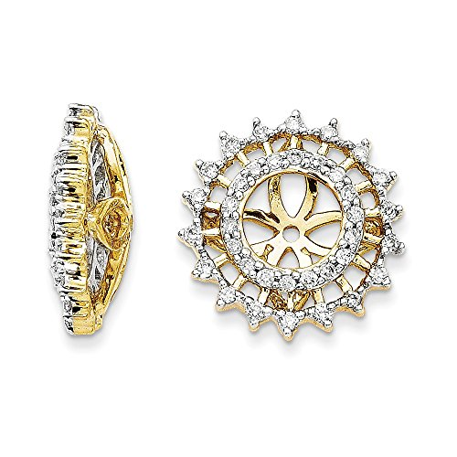0.33 Carat (ctw) 14k Gold Diamond Removable Star Shape Jackets for Stud Earrings 1/3 CT - (Yellow-Gold) 14k Gold Diamond Earring Jackets