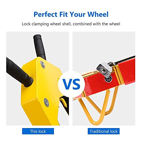 Steel Wheel Chock Lock Anti-Theft Towing Auto Car Security Lock Yellow Red