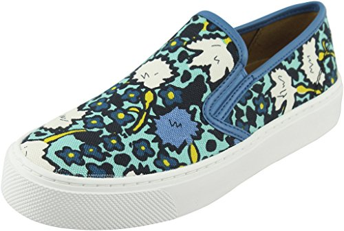 Toe Multi Blue Cameron Coach Loafers Floral Womens Closed Aqua Canvas aSTxqPT