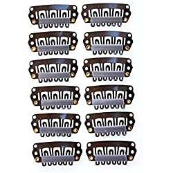 YONNA 12pcs U Shape Iron Snap Clips For Feather Hair Extensions Wigs Weft Brown Color