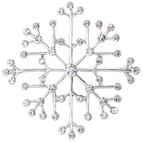 EVER FAITH Austrian Crystal Charming Lady Winter Snowflake Brooch Pin Clear