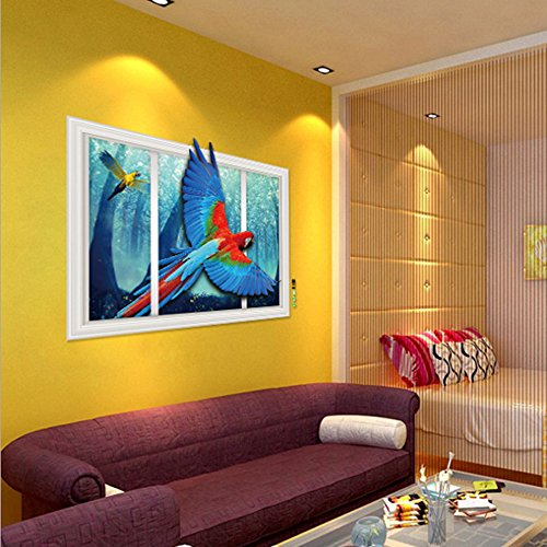 3D Style Parrots Forest Wall Sticker Paper Home Decal - 1