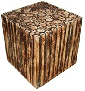 Craftatoz Crafts A to Z Wooden Square Shape Stool/Chair for Living Room Home & Kitchen (Brown, 12-inch)