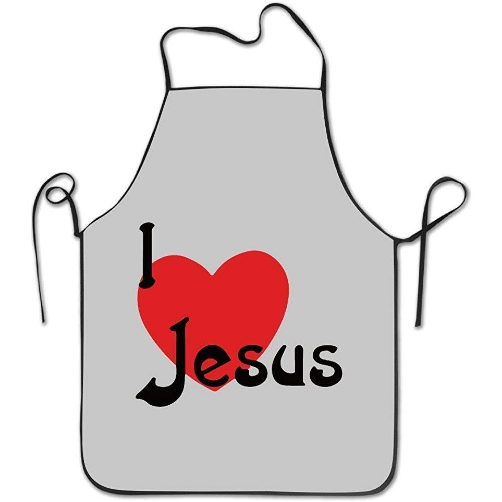 GAMSJM Personalized Kitchen Aprons I Love Jesus Christian White With Black Border Home Kitchen Adjustable Easy Care Barbecue Lightweight Apron Dress For Family Use Chef Apron