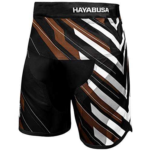 Hayabusa Metaru Charged Brazilian Jiu Jitsu and MMA Shorts (Black/Brown, 34)