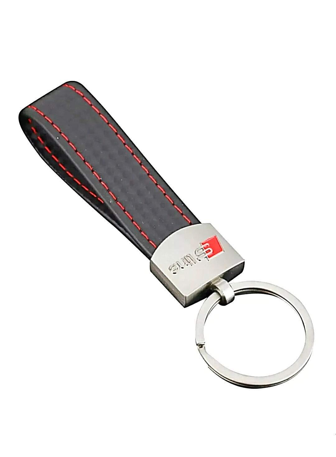 vvcesidot Porte Clé Audi S Line en Cuir synthétique Effet Carbone avec Rive Sline avec Logo Audi S Line Keyring Audi Porte-clés