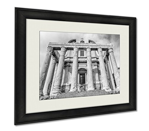 Ashley Framed Prints Ruins Of The Temple Of Antoninus And Faustina In Rome Italy, Wall Art Home Decoration, Black/White, 30x35 (frame size), - Shops Caesars Forum