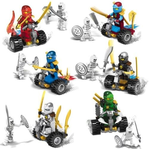 gonggamtop 12pcs Minifigures Ninjago By Car VS Human Skeleton Building Block Toys Kids (Nindroid Costume)
