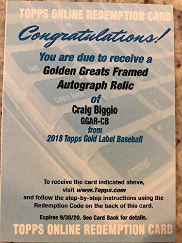 2018 Topps Gold Label Golden Greats Framed Autographed Relics #GGAR-CB Craig Biggio MEM Auto Houston Astros Official MLB Baseball Card from Gold Label