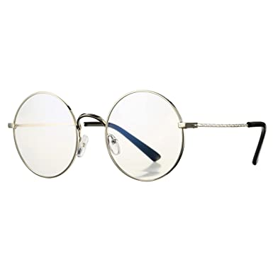 69a8e3224a COASION Retro Large Round Circle Clear Lens Glasses Metal Frame Non-Prescription  Eyewear(Silver
