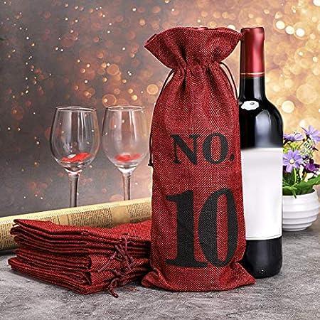 cherrypop 1 a 10 bolsas de vino de arpillera ciegas degustación de vinos, bolsas de vino para bodas, catas de vino, fiestas, Navidad, 10 unidades, rojo