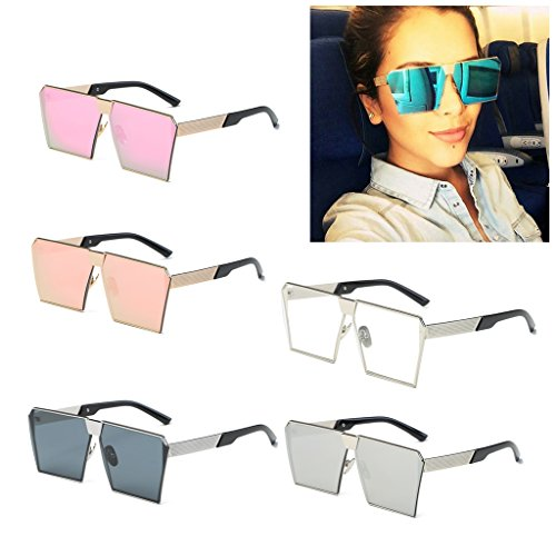 SCASTOE Fashion Oversized Thick Metal Frame Style Women Sunglasses Gradient Mirror Lens Sunglasses, Gold Frame, Pink Lens
