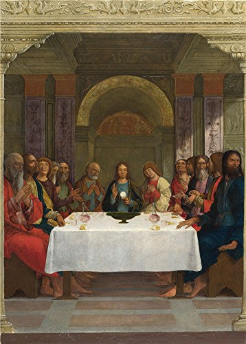 Polyster Canvas ,the Best Price Art Decorative Prints On Canvas Of Oil Painting 'Ercole De' Roberti The Institution Of The Eucharist ', 24 X 34 Inch / 61 X 85 Cm Is Best For Gym Artwork And Home Artwork And Gifts (Knife Party Halloween Intro)