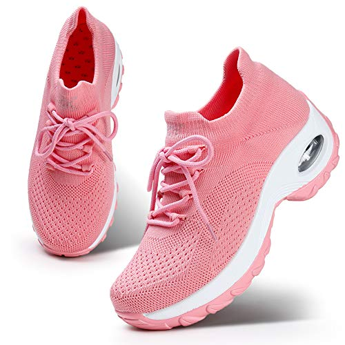 HKR Womens Athletic Knit Walking Shoes Casual Breathable Mesh Tennis Walking Sneakers Pink 9(1862fense41)