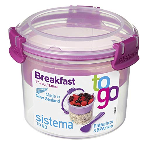 Sistema To Go Collection Breakfast Bowl Food Storage Container, 17.9 oz./0.5 L, Color Received May Vary (Collection Breakfast Mug)