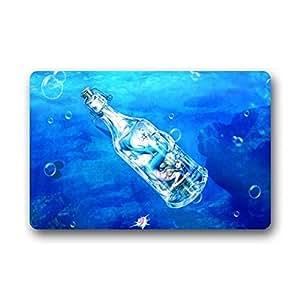 Mr. Six Mermaid The Seadrift Bottle Art Painting Fish Doormats Entrance Mat Door Mat Rug Indoor/Outdoor/Front Door/Bathroom Mats Rubber Non Slip 23.6 X 15.7 Inch