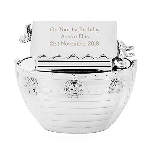 Personalised Noahs Ark Money Box Silver Plated Engraved Free