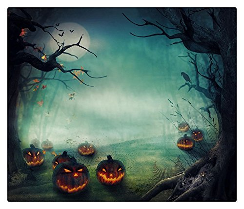 5x7 Photography Backdrop Halloween Misty Forest Yellow Pumpkin Lamps Black Trees Photo Backgrounds Moon Photo Studio Backdrop -