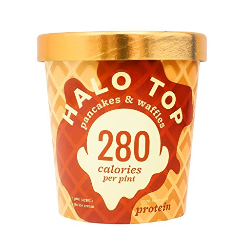 Halo Top Ice Cream Pint, Pancakes & Waffles, 16 Ounce (Pack of 8) (Cream Top Ice)