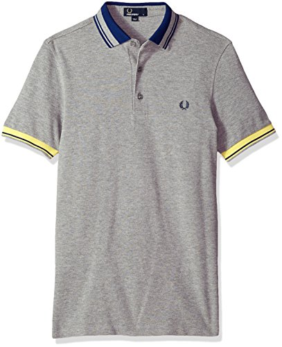 Fred Perry Men's Contrast Collar Pique Shirt, Steel Marl, (Contrast Collar Pique Polo Shirt)